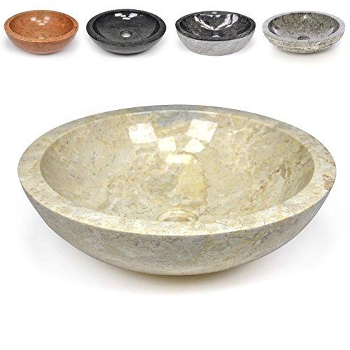 Akzent Fliesen Marmor (Divero Naturstein Aufsatz-Waschbecken Modena Handwaschbecken Waschschale Marmor Stein poliert rund beige creme)