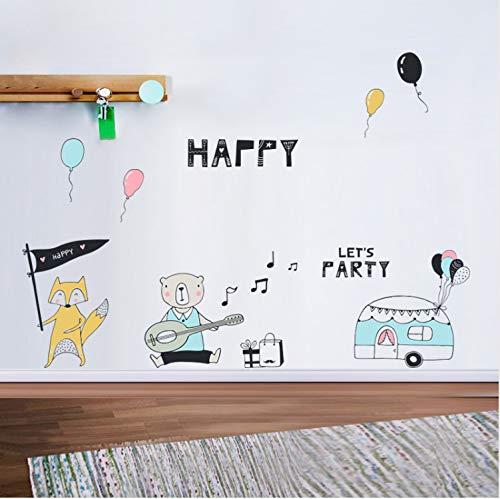 (LGXINGLIyidian Cartoon Nette Einfache Malerei Tier Wandaufkleber Bär Fox Musik Geburtstag Party Thema Wandaufkleber Kinderzimmer Abziehbilder 40 cm X 60 cm)