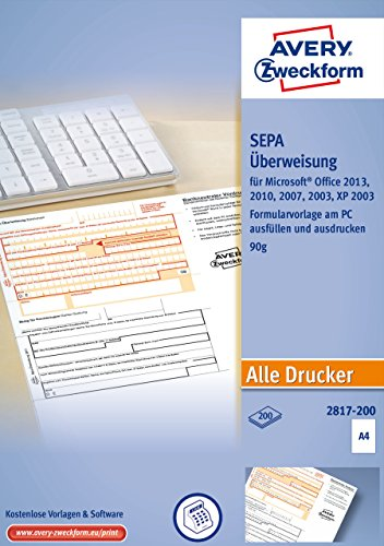 AVERY Zweckform 2817-200 Überweisung/Zahlschein (PC-Druckerformular, A4, von Rechtsexperten geprüft, für Deutschland, zum einfachen Erstellen von Überweisungen am PC, 200 Blatt) - 200 Formulare