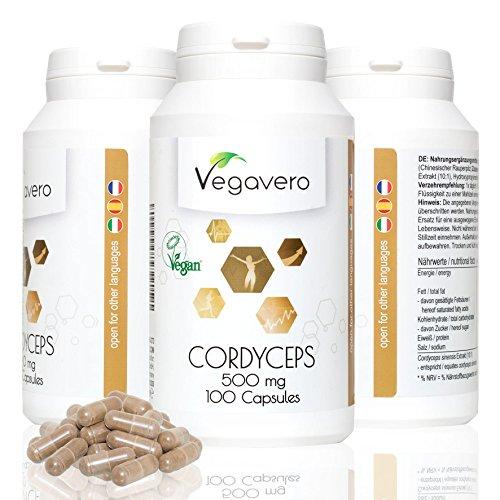 Cordyceps Vegavero | Fungo rinvigorente | 100 capsule - 500 mg | Vegan e completamente naturale | Qualità tedesca