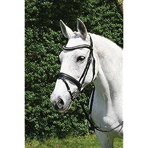 Hans Melzer Horse Equipment Trense Wiesbaden, schwarz/schwarz unterlegt, Vollblut