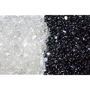 Je 200 Gramm Ladesteine Bergkristall und Entladesteine Hämatit im Beutel mit Anleitung