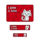 Striefchen® 177 Heftaufkleber mit Namen - niedliches Kätzchen - ideal zur Schuleinführung