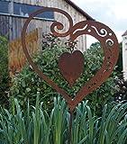 Edelrost Herz mit Innenherz groß auf Stab Gartenstecker