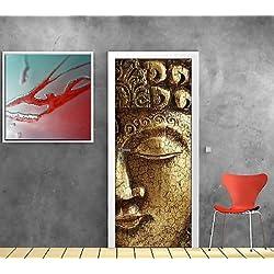 Adhesivo decorativo para puerta, diseño de Buda ref 863, 83 x 204 cm