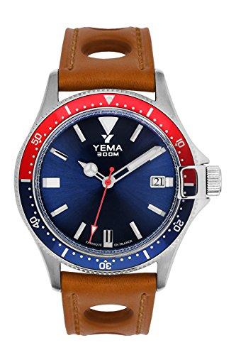 Armbanduhr Herren-Yema-Pro Diver-Armband Leder honig perforiert-Automatische-42mm-30bar-ymhf1554-gs34 -