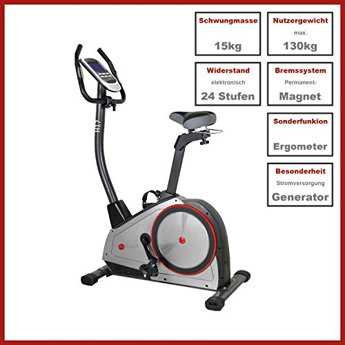 AsVIVA H17_P Heimtrainer Ergometer Cardio, App-Bluetooth, Generator System, 15 kg Schwungmasse - 3
