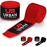 Boxbandagen von Urban Brigade® (4m) – Halb-Elastische Bandagen mit Daumenschlaufe und breitem Klettverschluss – Inklusive Stofftasche (Rot)