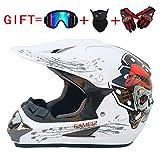 Wansheng Adult Motocross Helm MX Motorradhelm ATV Scooter ATV Helm D. O. T Zertifiziert Rockstar Multicolor Mit Brillen Handschuhe Maske (S, M, L, XL),A,S