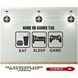 EAT SLEEP GAME Wandtattoo Wandaufkleber Wandsticker Wandbilder Personalisiertem Namen