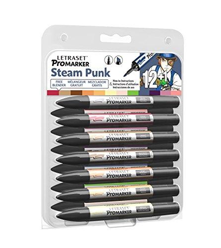 Letraset Manga Steampunk Set de 12 Promarkers Couleurs assortis + 1 Feutre à pointe ogive