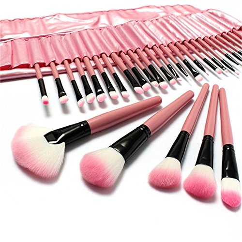 LuckyFine 32Pcs Professionnels Pinceaux de Maquillage Cosmétique Rose Pour Fard A Paupières Fondation Poudre Blush + 1Pcs Eponge de Maquillage