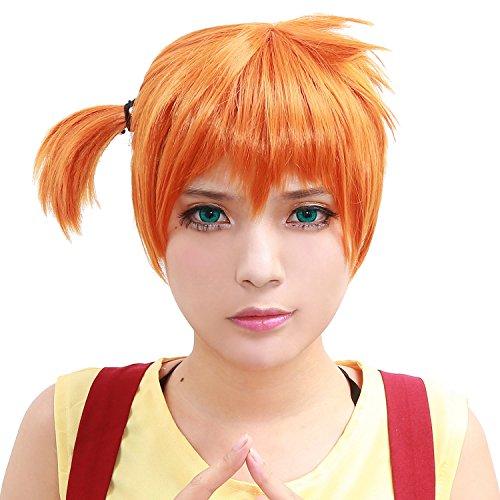 Halloween Misty Perücke Wig Anime Perücken Cosplay Kurz Orange Haar Hair Kostüm Zubehör Costume - Für Anime Halloween