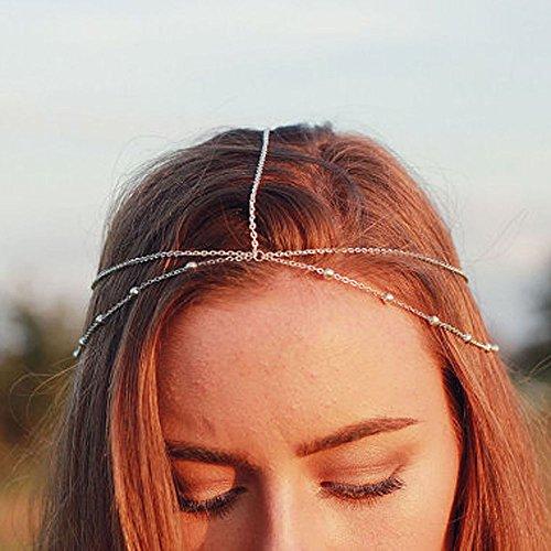 Yean Kopf Kette Haar Zubehör Bohemian-Stil für Frauen und Mädchen (Casual Kopf)