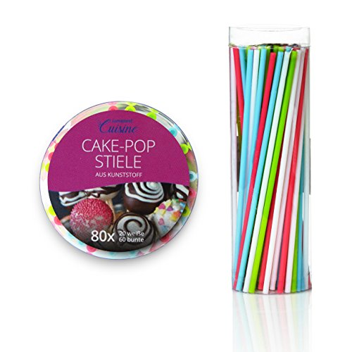 Image of Lumaland Cuisine CakePop Sticks 80 Stück Wiederverwendbare Stiele für Cake Pops ca. 15 cm lang in 4 Farben