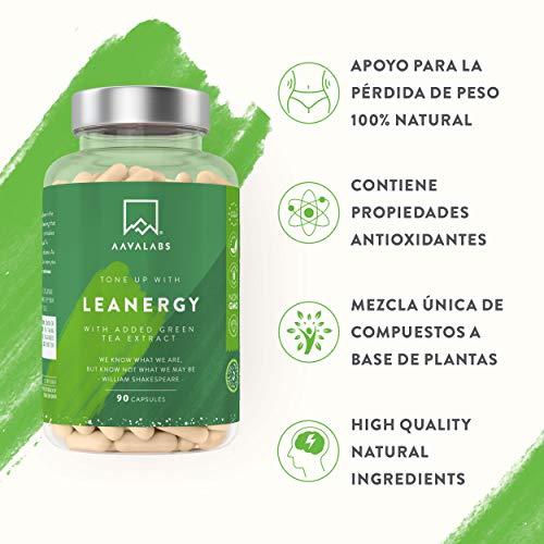 Leanergy - Quemagrasas Natural en Cápsulas con Extracto de Té Verde, Guaraná, Garcinia Cambogia - Pérdida de Peso y Metabolismo Graso - 90% de Polifenoles - Compuestos Naturales - 100% Vegano