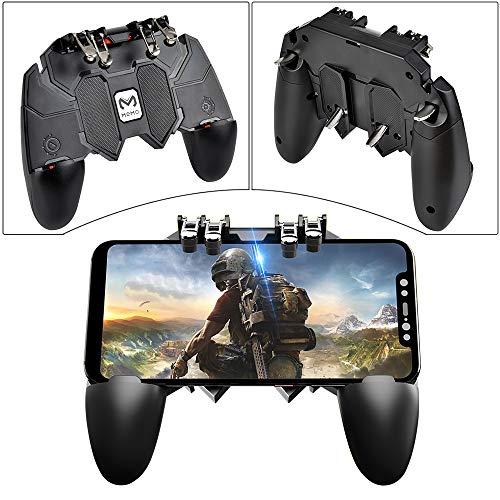 Elucku PUBG Mobile Game Controller 6 Finger Sensitive Gamepad AK66 Joystick Handyhalterung geeingnet für 4,7-6,5 Zoll Android or IOS Smartphone.