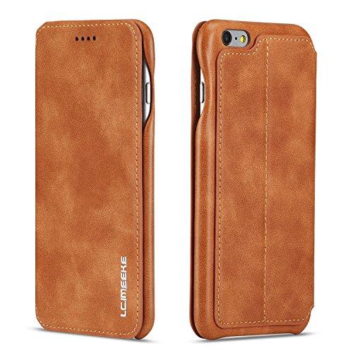 QLTYPRI Hülle für iPhone 6 Plus 6S Plus, Premium PU Leder Handyhülle Ultra Dünne Ledertasche Magnetverschluss Kartenfach Standfunktion Flip Schutzhülle Kompatibel mit iPhone 6 Plus 6S Plus - Gelb
