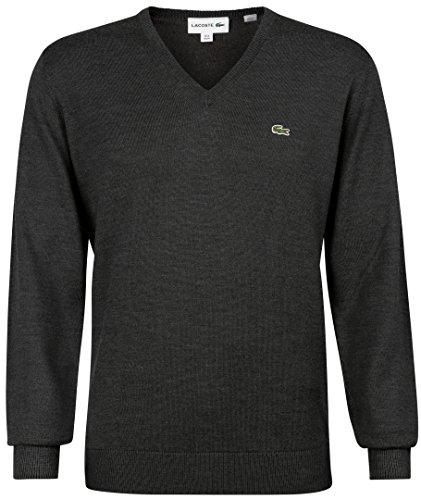 Lacoste AH3015 Klassischer V-Ausschnitt Wollpullover, Herren Pullover aus Wolle, grünes Krokodil, Langarm Grau (Scarabee Chine (K4J)), EU 5