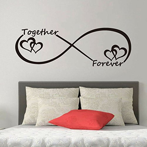 WWYJN Customized Infinity Symbol Word Love Wall Stickers Bedroom Living Room Decoration Wallpaper Forever Heart Vinyl Art Wall Decals Gray 19CMX57CM