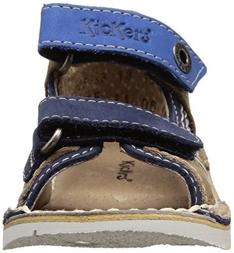 Kickers Wasabi Bis, Chaussures Bébé marche bébé garçon Bleu (Marine/Camel)