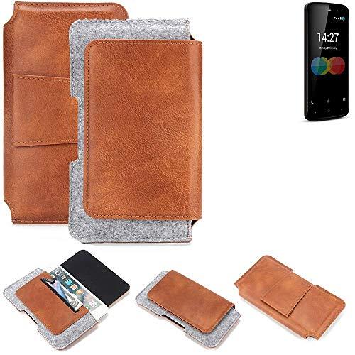 K-S-Trade für Allview P6 eMagic Gürteltasche Schutz Hülle Gürtel Tasche Schutzhülle Handy Smartphone Tasche Handyhülle PU + Filz, braun (1x)