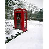 A.Monamour Scenic Winter White Snow Trees With Rimes Hoarfrost Christmas Holiday Mural Party Wall Decorations Vinyl Fabric Photography Backdrops 5x7ft - Telephone Booth Road