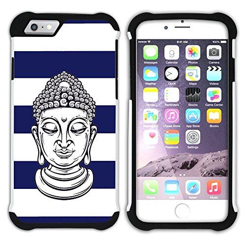 Graphic4You Buddha-Kopf Linien Muster (Wasserblau) Hart + Weiche Kratzfeste Hülle Case Schale Tasche Schutzhülle für Apple iPhone 6 Plus / 6S Plus Marineblau