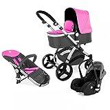 Kinderwagen Set MAGICA mit Babyschale 3 in 1 Kombi Kinderwagen Pink