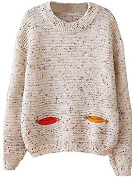 Drawihi Blusa de Punto suéter de Invierno de Las Mujeres Blusa de Manga Larga patrón de búho Bolsillos de Beso...