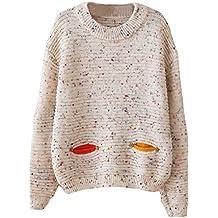 Drawihi Blusa de punto suéter de invierno de las mujeres Blusa de manga larga patrón de