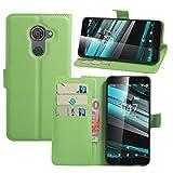 HualuBro Vodafone Smart Platinum 7 Hülle, Premium PU Leder Leather Wallet Handyhülle Tasche Schutzhülle Case Flip Cover mit Karten Slot für Vodafone Smart Platinum 7 Smartphone (Grün)