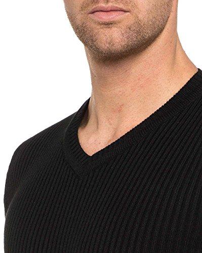 BLZ jeans - Pull moulant homme noir Noir