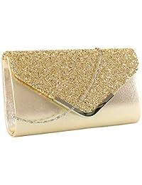 49862c892820a elfishjp Damen Clutch Glitzer Elegant Abendtasche Glänzend Handtasche Tasche  Umhängetasche Klein in Gold