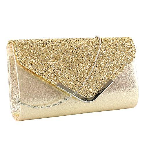 elfishjp Damen Clutch Glitzer Elegant Abendtasche Glänzend Handtasche in Gold, Silber, Pink - Schwarz Metallic Tasche Handtasche