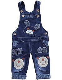 Happy Cherry - Pantalones Largos Vaqueros con Peto Ropa de Una Pieza Denim Bib Overall Pantalón Animado Estampado para Bebé Niños Niñas - 68-72cm(6-18meses)