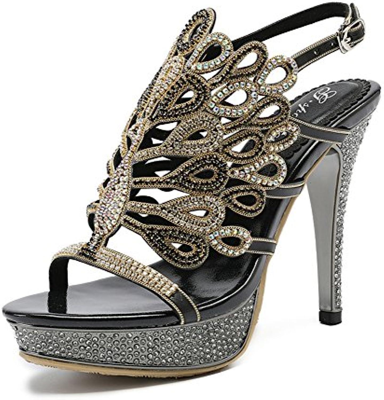 NVXIE Mujeres Señoras Mid Low High Heel Strappy Diamante de Imitación Pavo Real Party Prom Prom Sandalias Zapatos...