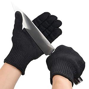 GYXTECH – Guantes de seguridad de alambre de acero inoxidable y kevlar para hombre, corte, malla metálica, carnicero, negro, 1par