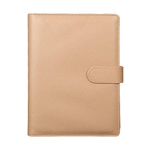 Candy Farbe A5Leder Loose Leaf Notizbuch nachfüllbar liniert Schreibblock Wochenplaner Diary khaki (Ticket-notebook)