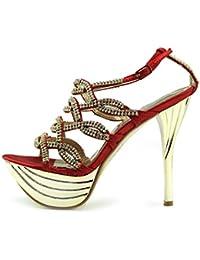 Womens Stilletto De Tacón Alto Rojo Dedo Del Pie Abierto De Diamantes Decoración De Fiesta Zapatos De Plataforma