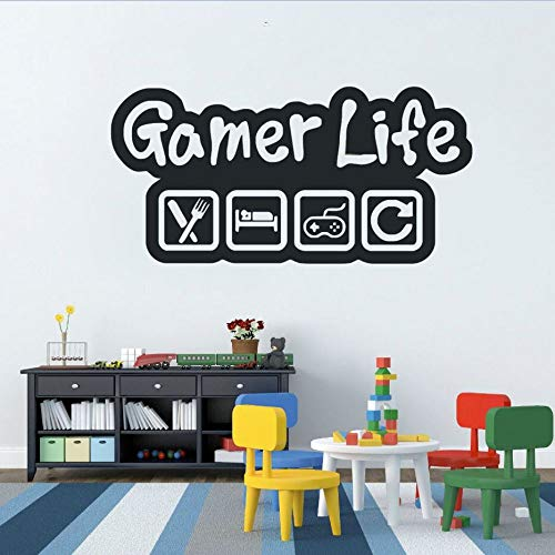 WWYJN Gamer Life Wall Sticker Video Game Controller Wall Decal Eat Sleep Game Wall Art Mural Kids Room Decor Vinyl Wall Poster red 116x57cm