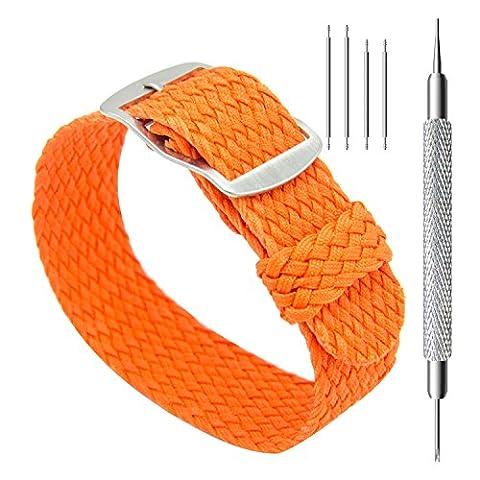 CIVO Uhrenarmband 20mm Einfach Entwurf NATO Uhr Armband Nylon Perlon Geflochten Gewebt Uhrband Edelstahl Schnalle (Orange, 20mm)