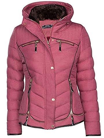 Manteau Hiver Veste matelassée Doublure karuze courte Duvet aspect fourrure - Rouge - 44