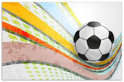 Wallario Herdabdeckplatte/Spritzschutz aus Glas, 2-teilig, 80x52cm, für Ceran- und Induktionsherde, Motiv Fußball - Ball in bunten Wellen I -