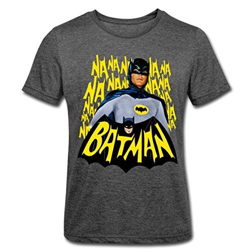Spreadshirt DC Comics Batman Retro Schauspieler Titelsong Männer Polycotton T-Shirt, S, Dunkelgrau meliert