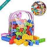 OZUAR 130 Stücke Baustein Spielzeug Set Kinder DIY Spielzeug mit Tragetasche, Sicher Glatt Kreatives Lernspielzeug Kindheit Spielzeug Lustige Spiel Spielzeug