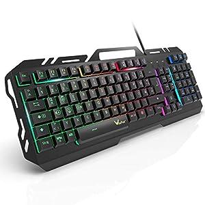 Gaming Tastatur, WisFox Bunte Rainbow LED Hintergrundbeleuchtete Gamer Keyboard, Ultra Sünn leise Ganzmetall USB Computertastatur mit Spritzwassergeschütztem Design für Windows PC Gamer-Schwarz