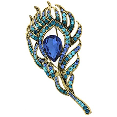 Brooches Store Elegant Gold and Aqua Blue Crystal Peacock Feather Brooch
