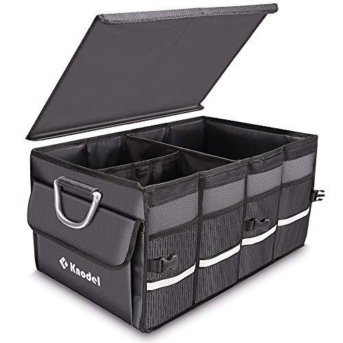 Knodel Organizador de Maletero de Coche Sturdy con Cubierta Plegable, contenedor de Almacenamiento Plegable, Caja de Almacenamiento portátil multipropósito y Portador, a Prueba de Agua (Gris)