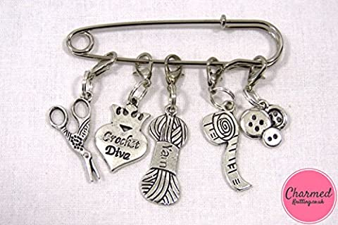 Crochet Diva - Crochet Stitch Markers - Silver set of 5 - perfect gift or stocking filler for those who love Crochet or Knitting by Charmed Knitting